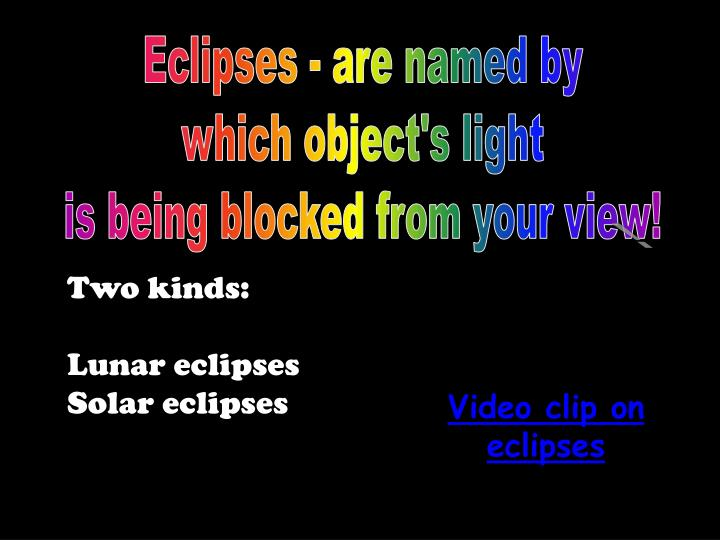 Eclipses - are named by