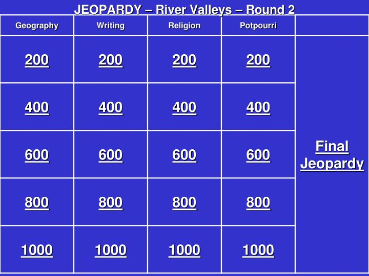 Jeopardy river valleys round 2