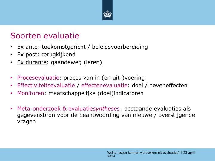 Soorten evaluatie