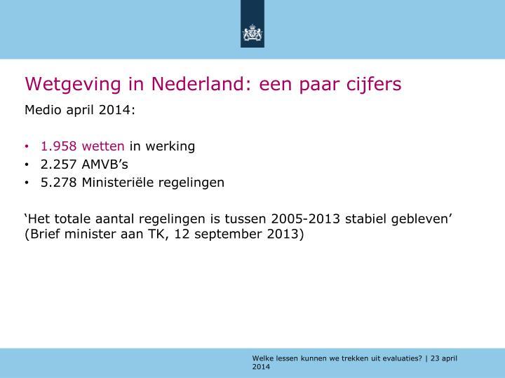 Wetgeving in Nederland: een paar cijfers