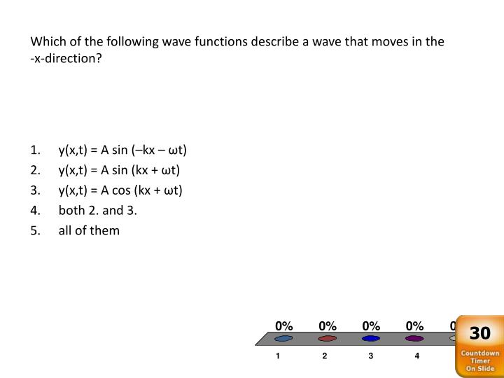 Which of the following wave functions describe a wave that moves in the