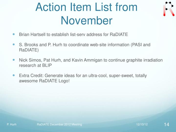 Action Item List from November