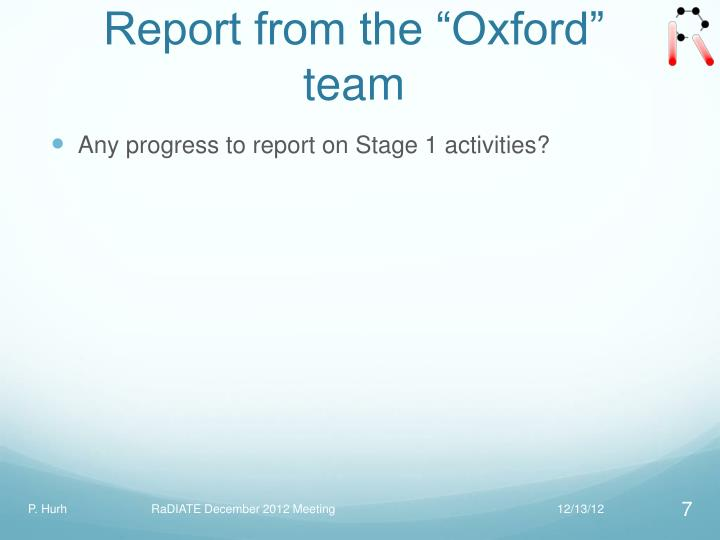 """Report from the """"Oxford"""" team"""