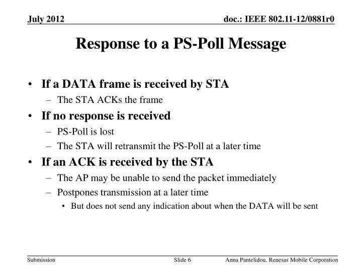 Response to a PS-Poll Message