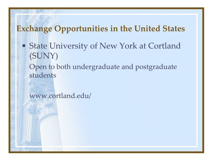 Exchange Opportunities in the United States