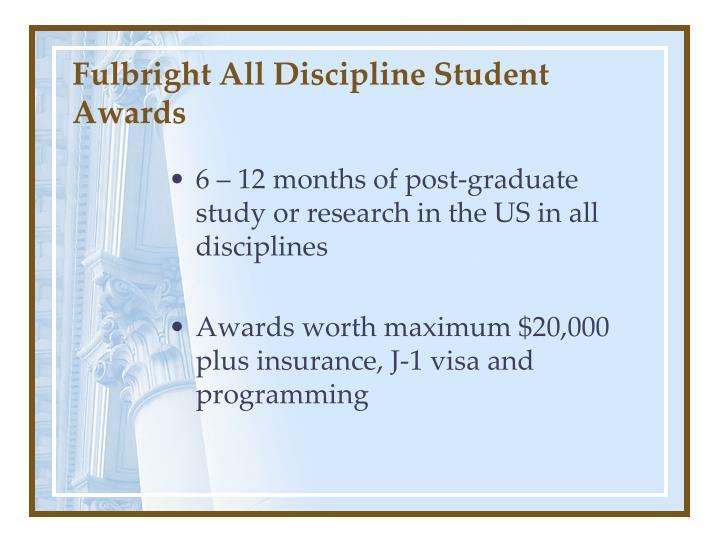 Fulbright All Discipline Student Awards