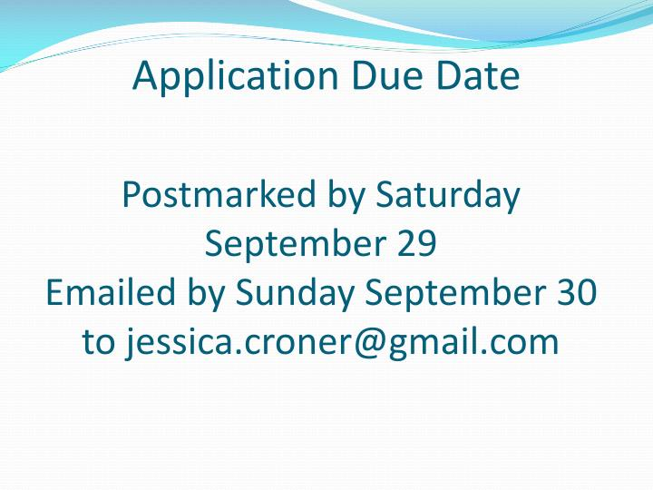 Postmarked by Saturday September 29