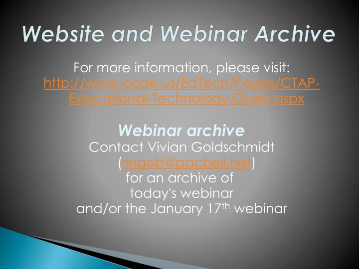 Website and Webinar Archive