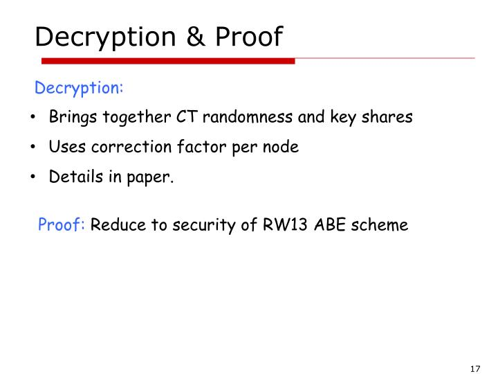 Decryption & Proof