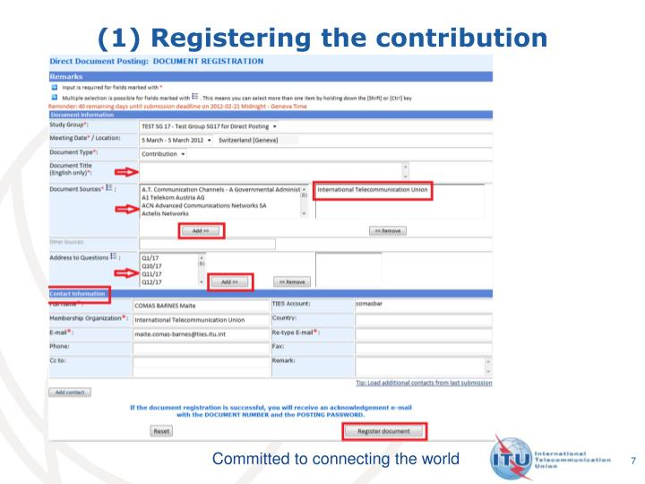 (1) Registering the contribution