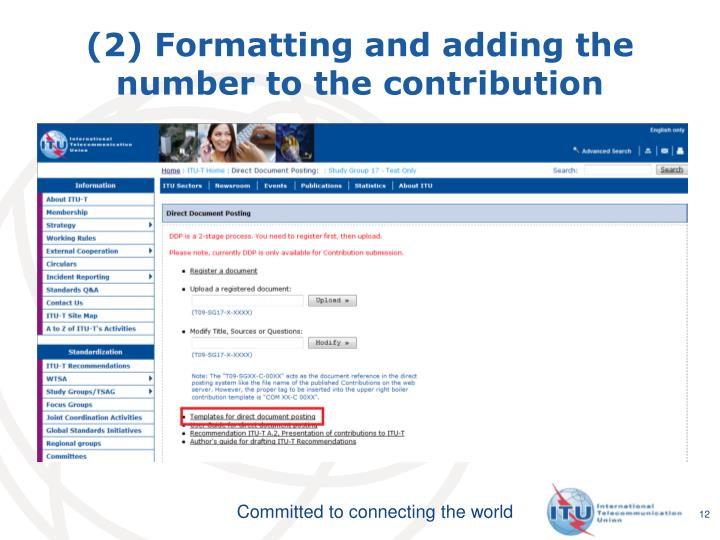 (2) Formatting and adding the number to the contribution