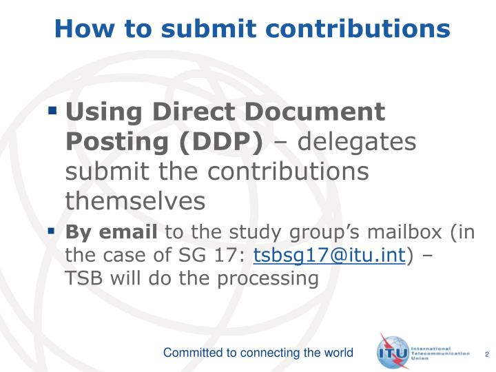 How to submit contributions