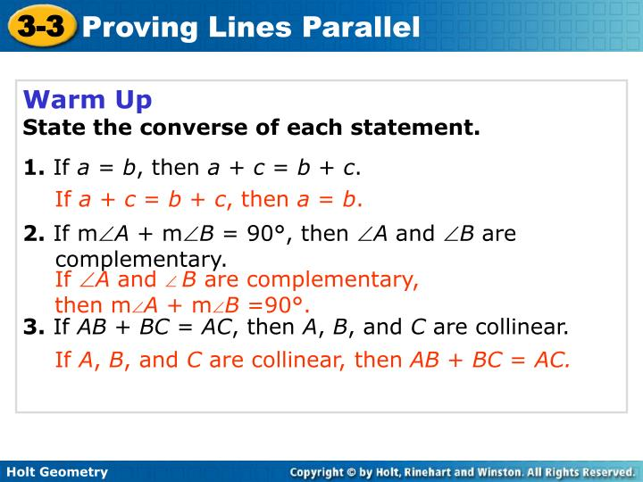 PPT - Warm Up State the converse of each statement  1  If a