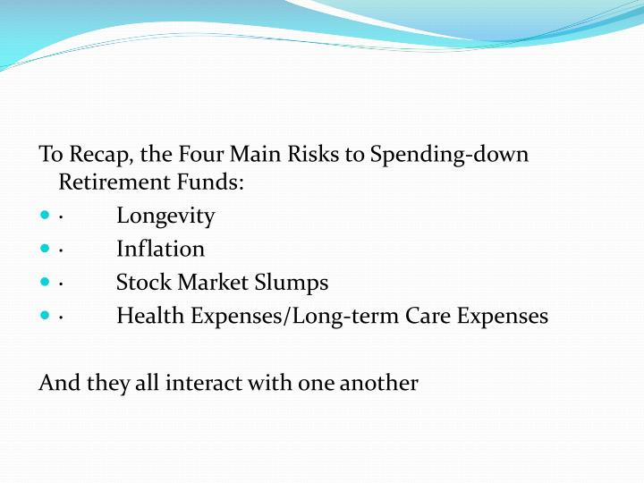 To Recap, the Four Main Risks to Spending-down Retirement Funds:
