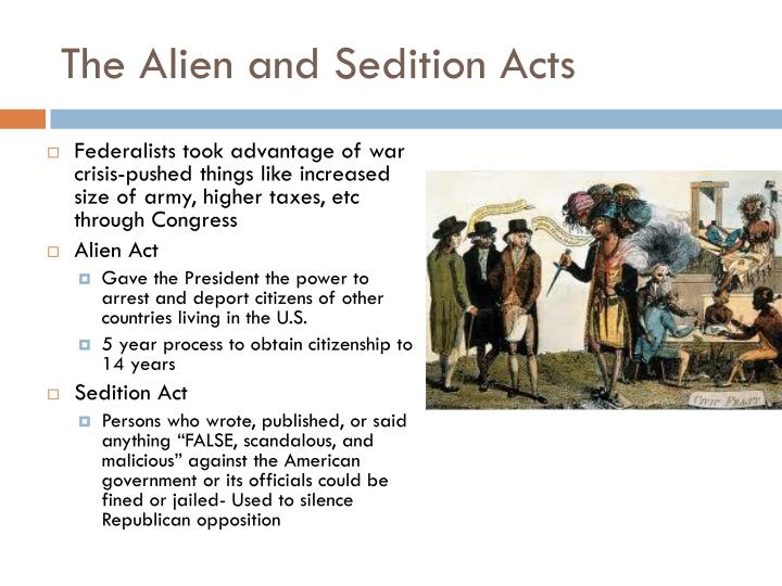 the alien and sedition acts essay Essays from bookrags provide great ideas for alien and sedition acts essays and paper topics like essay view this student essay about alien and sedition acts.