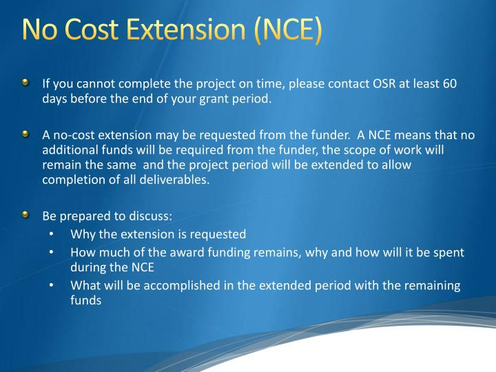 No Cost Extension (NCE
