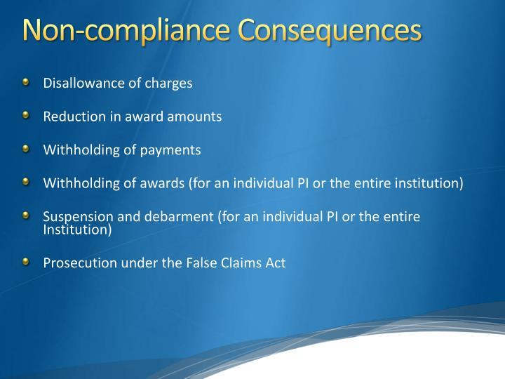Non-compliance Consequences