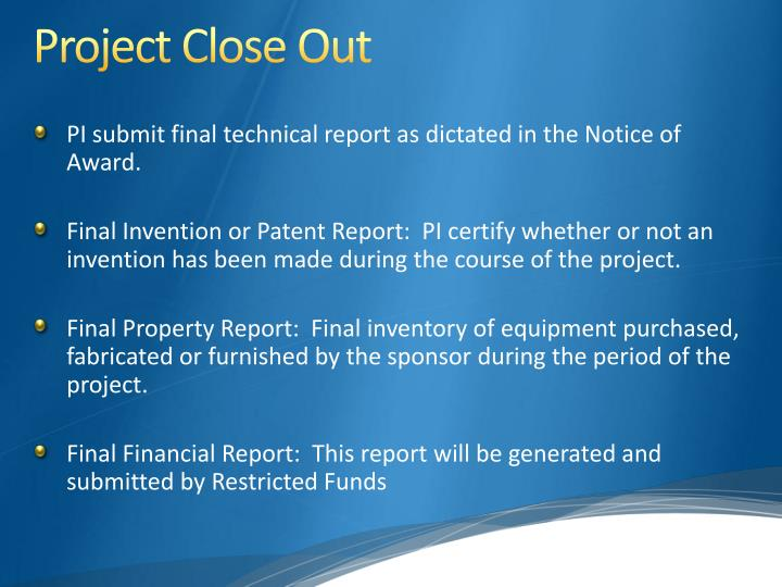 Project Close Out