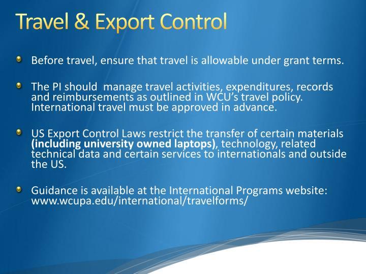 Travel & Export Control