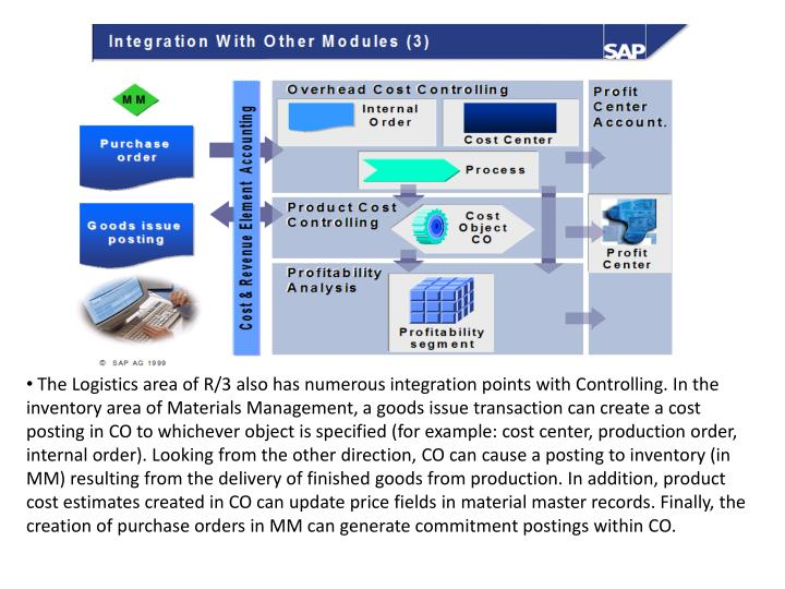 The Logistics area of R/3 also has numerous integration points with Controlling. In the inventory area of Materials Management, a goods issue transaction can create a cost posting in CO to whichever object is specified (for example: cost center, production order, internal order). Looking from the other direction, CO can cause a posting to inventory (in MM) resulting from the delivery of finished goods from production. In addition, product cost estimates created in CO can update price fields in material master records. Finally, the creation of purchase orders in MM can generate commitment postings within CO.