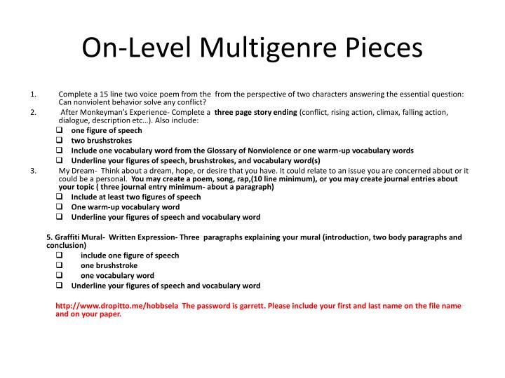 On level multigenre pieces