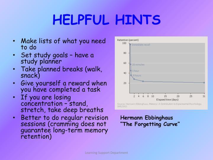 HELPFUL HINTS