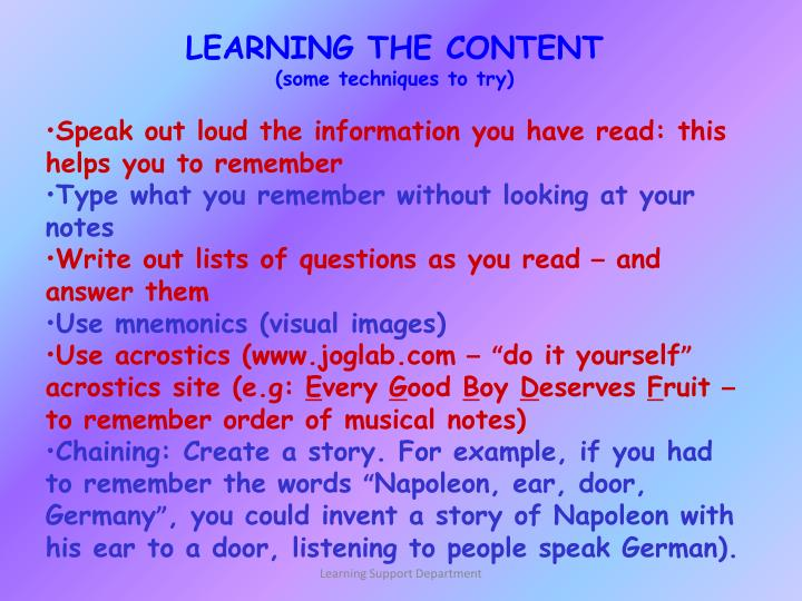 LEARNING THE CONTENT