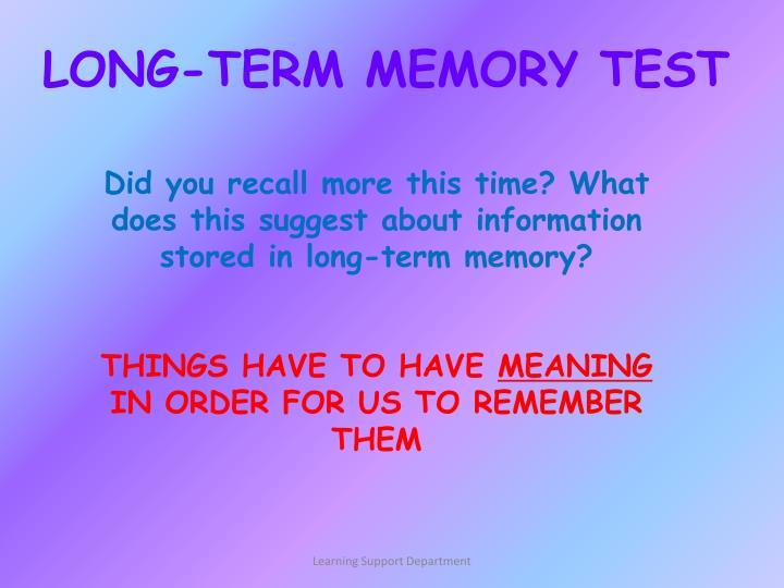 LONG-TERM MEMORY TEST