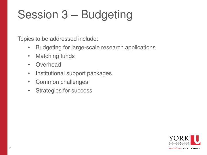 Session 3 budgeting