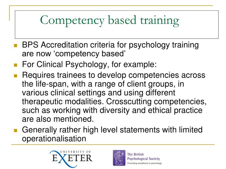 Competency based training
