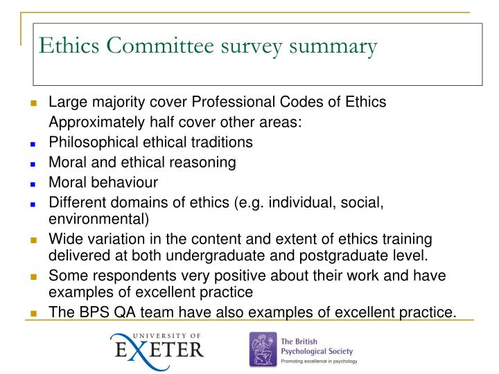 Ethics Committee survey summary