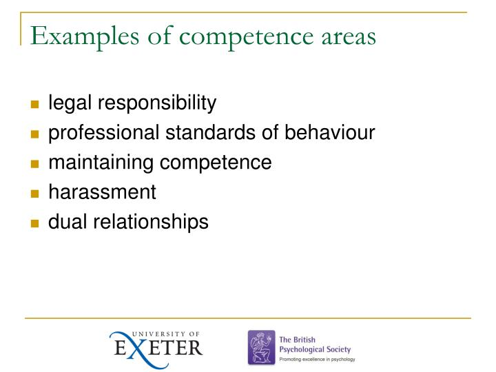 Examples of competence areas