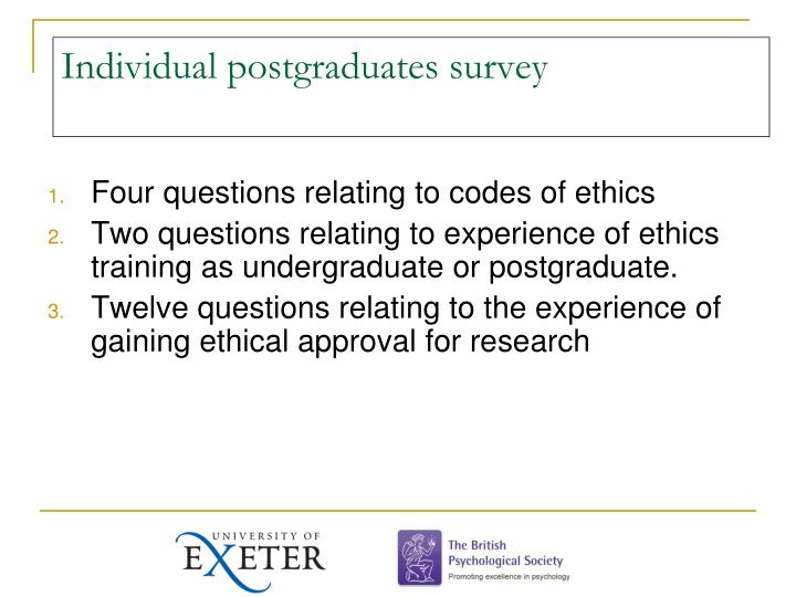 Individual postgraduates survey