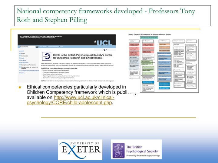 National competency frameworks developed - Professors Tony Roth and Stephen Pilling