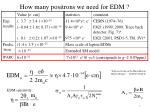 how many positrons we need for edm
