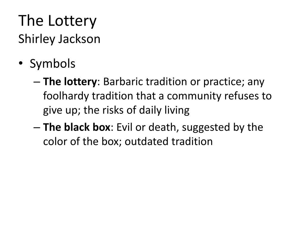 PPT   The Lottery Shirley Jackson PowerPoint Presentation, free ...