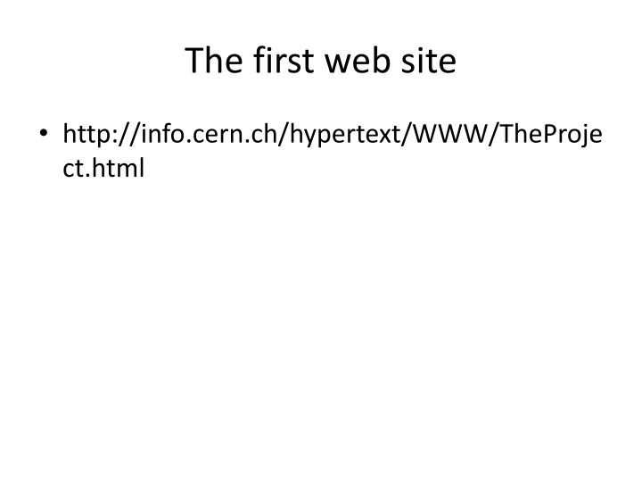 The first web site