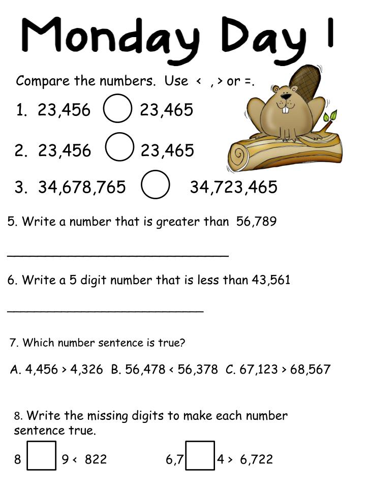 Compare the numbers.  Use  <  , > or =.