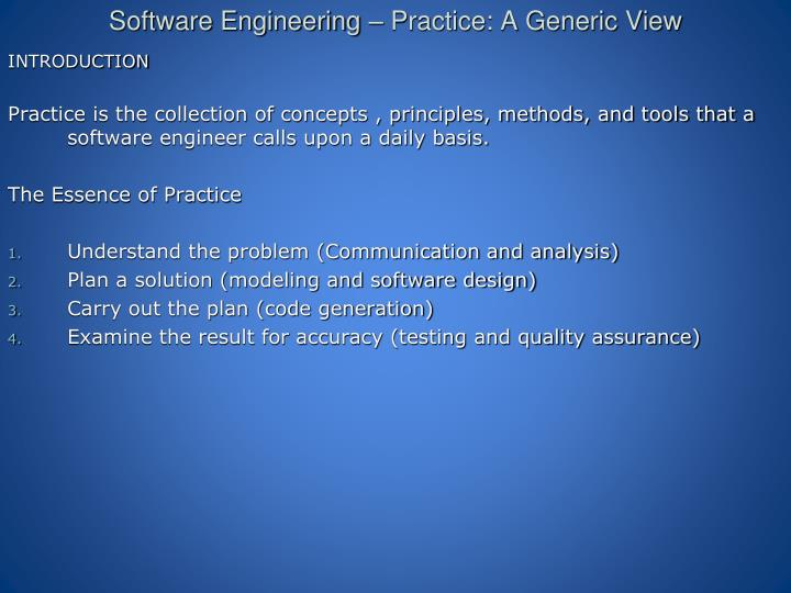 Ppt Software Engineering Practice A Generic View Powerpoint Presentation Id 2606531