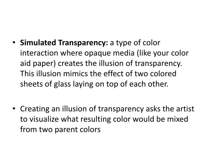 Simulated Transparency: