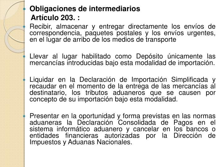 Obligaciones de intermediarios