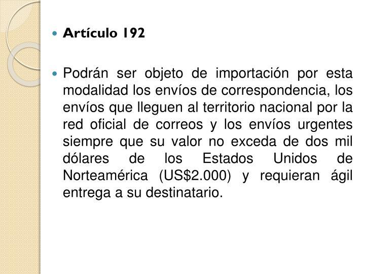 Artículo 192
