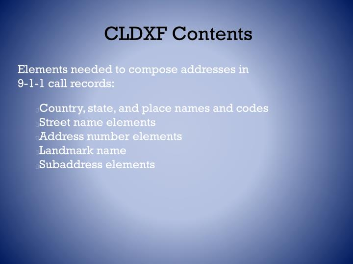 CLDXF Contents