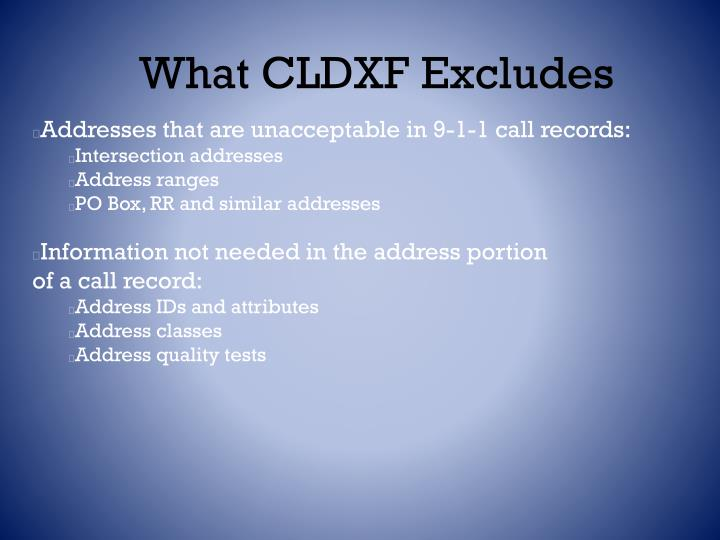What CLDXF Excludes