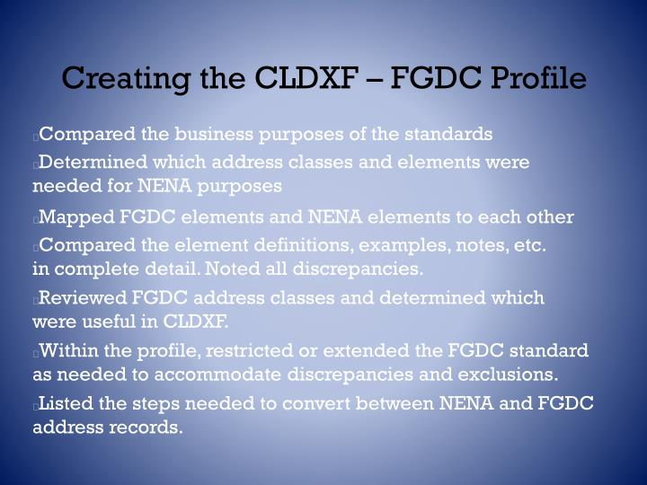 Creating the CLDXF – FGDC Profile