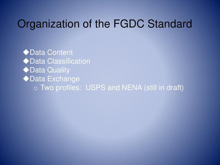 Organization of the FGDC Standard