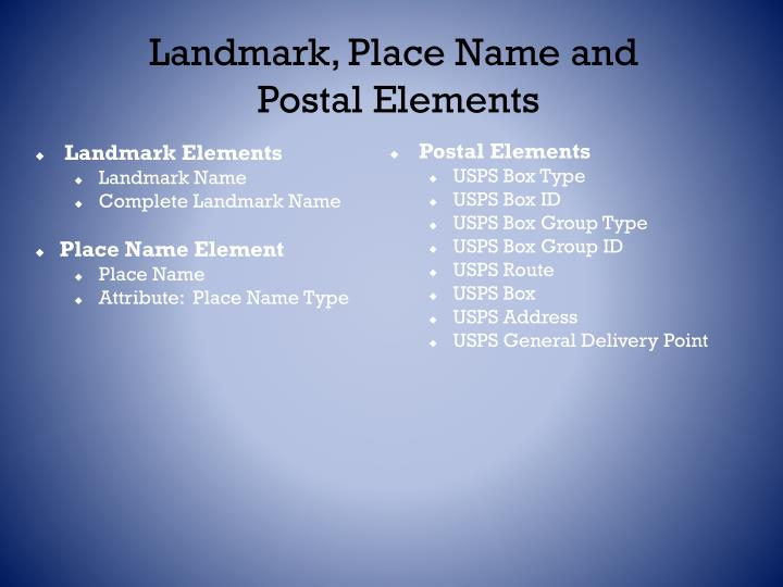 Landmark, Place Name and  Postal Elements