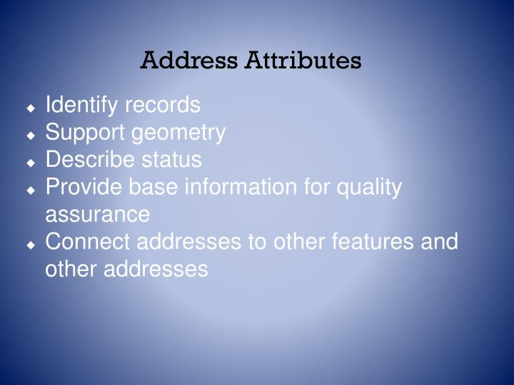 Address Attributes