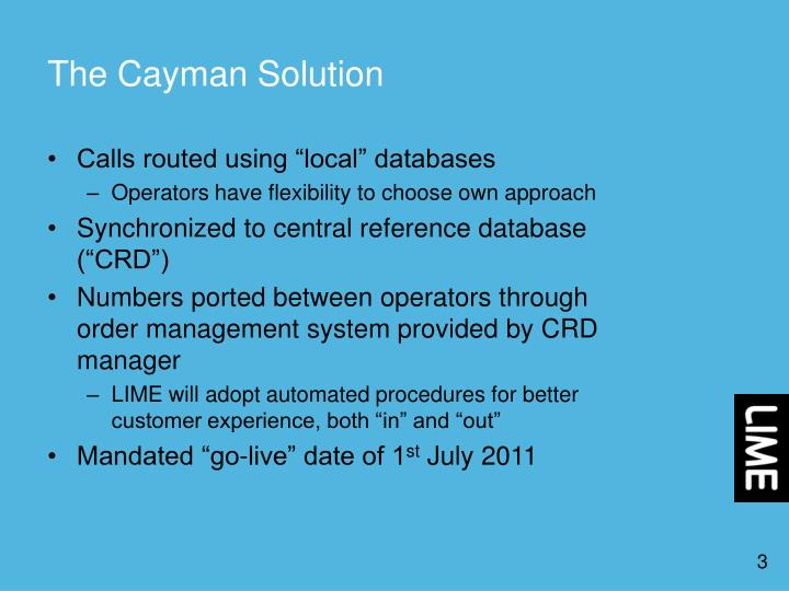 The cayman solution