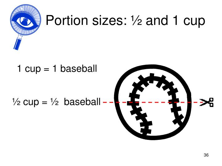 Portion sizes: ½ and 1 cup